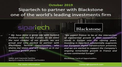 Sipartech et Blackstone actualité